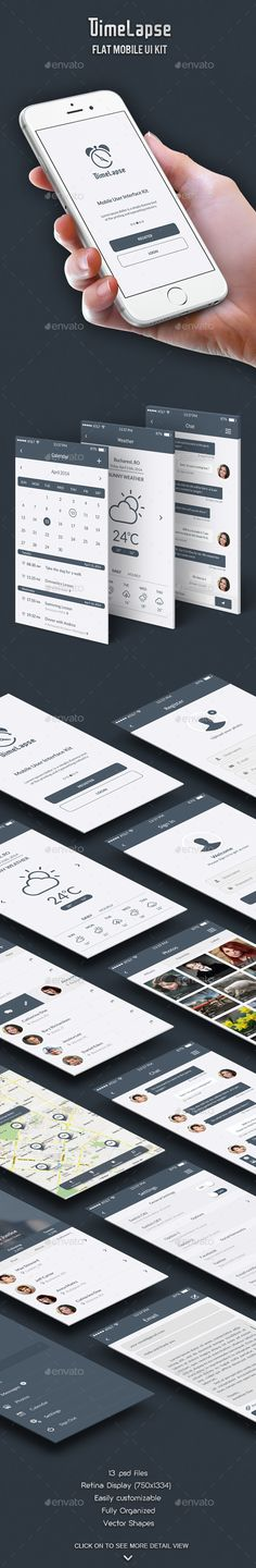 Timelapse - Flat Mobile UI Kit Template PSD #design Download: http://graphicriver.net/item/timelapse-flat-mobile-ui-kit/7516345?ref=ksioks