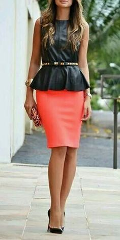 Beautiful. ...flattering. ..peplum  Pencil skirt set