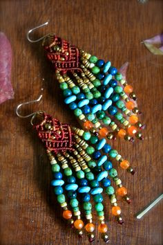 micro macrame and beads earrings by yasmin