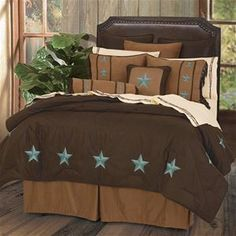 Delectably-Yours.com Laredo Turquoise Western Bedding Comforter Set and Accessories by HiEnd Accents - Twin Full Queen and King with matching accessories