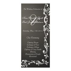 Chalkboard damask wedding programs personalized rack card