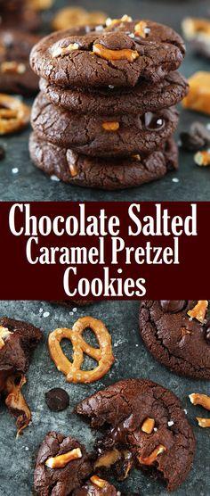 Pretzel Cookie Recipe, Pretzel Cookies, Cocoa Cookies, Chocolate Caramel Cookies, Salted Chocolate, Cake Mix Recipes, Cookie Recipes, Dessert Recipes, Delicious Desserts