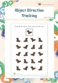 "In the ""Object Direction Tracking"" worksheets, the student must find all the objects that are facing the same way as the example at the top of the page."