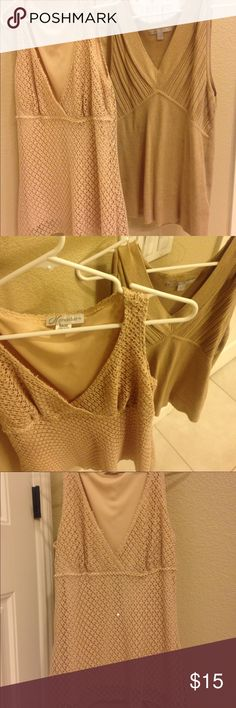 2 M & XL brown/cream women's tank tops Excellent condition, gently/never worn, stylish and sexy brown/cream tank tops. The 1st one has faint sparkles and is a medium but the 2nd does not and is an XL dressbarn Tops Tank Tops