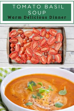This is one of the easiest, freshest tomato soup recipes you'll find. Almost all of the time required is simply oven or simmering time…totally hands off. Let all those yummy fresh veggies do the work of blending into a delicious roasted tomato basil soup! Fresh Tomato Soup, Roasted Tomato Basil Soup, Tomato Soup Recipes, Easy Soup Recipes, Roasted Tomatoes, Homemade Pesto, Homemade Soup, Pinterest Recipes, Yummy Eats