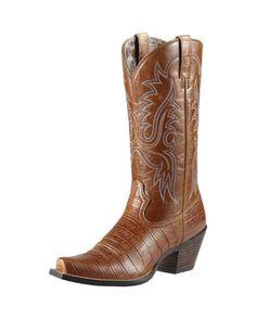 Ariat Women's Dakota Cowgirl Boots - Tan Gator Print/Shiny Tan  http://www.countryoutfitter.com/products/37257-womens-dakota-tan-gator-print-shiny-tan