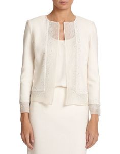 St. John Sequin-Trimmed Knit Jacket worn by Olivia Pope on Scandal.