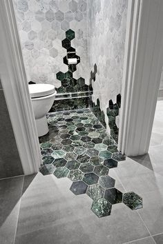 Green home decor is beautiful, green wall art, green furniture and green throw pillows are extremely stylish for living rooms and bedrooms. Green is. Bathroom Inspiration, Interior Inspiration, Bathroom Ideas, Design Bathroom, Bathroom Green, Kitchen Design, Bathroom Tiling, Bathroom Goals, Hexagon Tile Bathroom