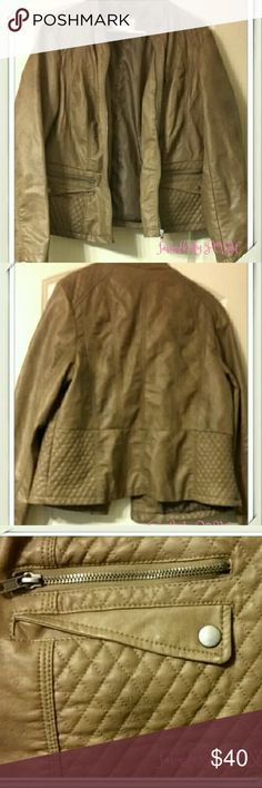 Xhiliration Faux Leather Jacket Plus Size Excellent condition preloved Xhiliration brown faux leather jacket in size 1X.   Approximate length 23.5 inches; Approximate sleeve length 24.5 inches Xhilaration Jackets & Coats