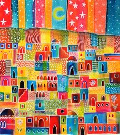 Patchwork Town, Watercolours by Janice MacDougall | Artfinder