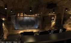 coolest media room - who wouldn't want the bat cave in their house!!
