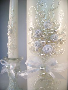 GORGEOUS Wedding unity candle set  3 candles and by PureBeautyArt, $62.00