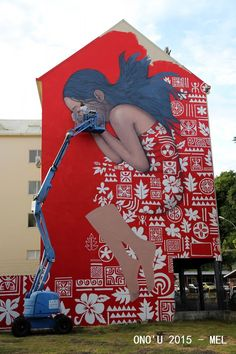 Murals Street Art, Street Graffiti, Graffiti Wall Art, Mural Art, Tahiti, Festival D'art, Art Inspo, Illusions, Illustration