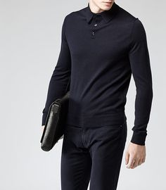 Tops... Mens Navy Wool Polo Shirt - Reiss Boulter