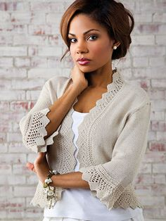 This romantic design is becoming on most body types and offers subtle shaping at the waist. Wear it open or with a decorative shawl pin for a completely different look. This e-pattern was originally published in the Summer 2013 issue of Creative Knitting magazine. Size: Includes Woman's S through 3XL. Made with fine (sport) weight yarn and size 3/3.25mm needles. Skill Level: Intermediate