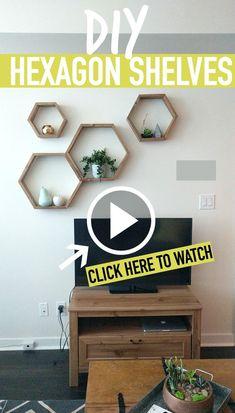 DIY HEXAGON SHELVES (Honeycomb Shelves) @Caitlin'sCorner Easy DIY Decor | How To Make Shelves
