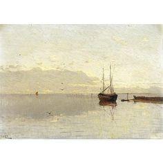 Guglielmo Ciardi , (Venezia 1842 - 1917) Alba in laguna ol