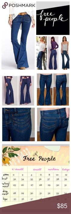 "Free People Stella Stretchy Flared Jeans.  NWT. Free People Stella Stretchy Flared Jeans, 50% cotton, 23% rayon, 22% polyester, 2% spandex, machine washable, 32"" waist, 9.5"" front rise, 12.5"" back rise, 33.5"" inseam, 28"" leg opening all around, super stretch fabric, chevron-embroidered patch pockets further the hip throwback vibe of these stretch denim that sculpt your figure through the thighs before flaring into a dramatic bell shape, front/back patch pockets trimmed with orange thread, zip fly button closer, measurements are <a href=""http://approx.NO"" rel=""nofollow"" target=""_blank"">approx.NO</a> TRD Free People Jeans Flare & Wide Leg"