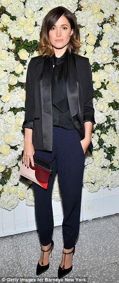 Rose Byrne met menswear with glam femininity at the Barneys New York Victoria Beckham Dinner where she styled her Victoria Beckham tux blazer and black silk blouse with navy tapered trousers, a flirty two-tone clutch and T-strap Brian Atwood pumps. Rose Byrne, Victoria Beckham Collection, Costume, Gwyneth Paltrow, Lookbook, Red Carpet Looks, Anna Dello Russo, Sarah Jessica Parker, Blake Lively