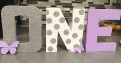 "https://www.facebook.com/RefashOurStash/.         Hand crafted 8"" letters lavender silver and white butterfly theme first birthday photo shoot party decor ONE"