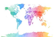 Watercolor world map download colorful large wall art decor pink world map print featuring the digital art watercolor map of the world map by michael tompsett gumiabroncs Images
