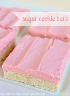 High Heels and Grills: Sugar Cookie Bars. Half the mess of normal sugar cookies and just as much deliciousness!