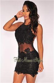 Black Embroidered Crisscross Open Back Padded Dress