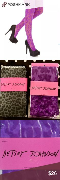 "🐆NWT-Betsey Johnson 2 Pairs SEXY Cheetah Tights! 🐆NWT-Betsey Johnson 2 Pairs SEXY Cheetah Tights! Brand new & hard to find. 1st Pair S/M-Violet lace w. Cheetah ""embroidered"" pattern. 2nd Pair M/L-Grey background w. Cheetah print. These are undeniably chic & sexy. Add a little flair to your outfits! * 90% Nylon, 10% Spandex * Imported * Hand Wash * 90 percent nylon, 10 percent spandex Betsey Johnson Accessories Hosiery & Socks"