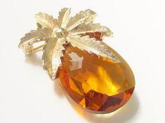 Vintage Yellow Pineapple Glass Brooch by GrandVintageFinery