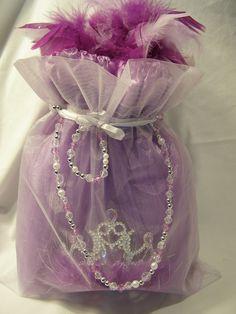 Tutu Cute Bag Favor. Sheer Drawstring bag holds Tutu, Tiara, Boa, Necklace and Bracelet set. #favor #princessfavor #tutufavor