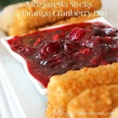 Farm Rich Mozzarella Sticks and Breaded Mushrooms with Cranberry Orange Dipping Sauce #FarmRichHacks #ad