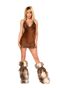 This classy brown dress with sequin trim and fringe is the perfect choice this Halloween. With matching Tie Back Fringe Faux Fur Leg Warmers.ᅠ $118.95 #SexyIndian #SexyDress #Sexy #Halloween #Costume
