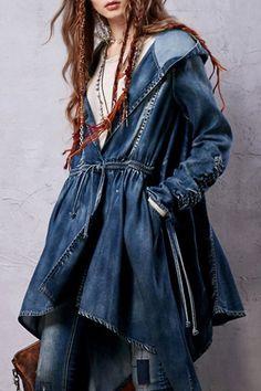 Denim Hooded Long Sleeve Coat