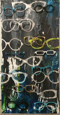Eyeglasses art piece, melted wax on canvas with painted vintage frames from various eras. Custom made for Madison Eye Care in Westlake, OH. Glasses Shop, Cool Glasses, Glasses Wallpaper, Eye Art, Vintage Frames, Store Design, Amazing Art, Eyeglasses, Art Pieces