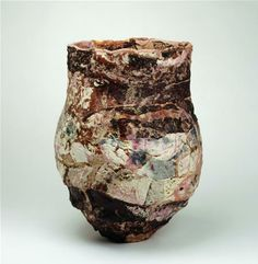 EWEN HENDERSON (1934-2000)  Tall pot, late l980's, mixed laminated clays, stoneware, height 46 cm width 36 cm