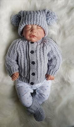 Jacob Baby Cardigan, Hat & Booties knitting pattern in 2 sizes & Knitting pattern by Designs by Tracy D Baby Boy Knitting Patterns Free, Baby Sweater Knitting Pattern, Knitted Baby Cardigan, Chunky Knitting Patterns, Baby Clothes Patterns, Baby Hats Knitting, Crochet Baby Clothes, Cardigan Pattern, Hat Patterns