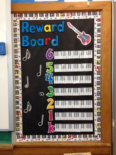 Reward board for music class. Make a pin for each classroom and clip it to their designated grade. On your whiteboard or chalkboard put the word MUSIC ( I use magnets). During the lesson if the class is too talkative, take a letter away. If the class keeps all the letters on the board at the end of lesson, they move two steps on their keyboard. 1-4 letters left is one step. No letters = no steps. When a class reaches the end of their keyboard, they earn a free music class.