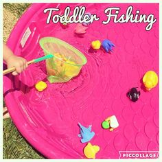 Toddler Fishing {Bree liked it when I told her what animal to scoop up. It made it more of a game that way:)} {We found this net at the dollar store} #summerfun #swimmingpool #toddlerfun #toddlerplay #toddleractivity #toddleractivities #toddlerbusytime
