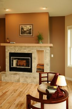 Tile fireplace surround with wood niche