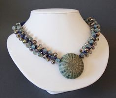Green Blue Beaded Kumihimo Necklace, Colorado Trade Bead Necklace, Lampwork Beaded Kumihimo Necklace, Statement Necklace