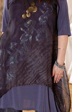 Upcurve Shibori Silk Organza Shift Printed : Blue Fish Clothing
