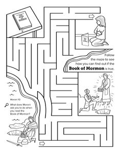 A maze activity showing a girl praying and other scenes, including Joseph Smith finding the golden plates.