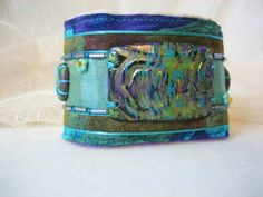 Textile cuff bracelet and polymer clay