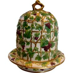 English Majolica High Dome Footed Cheese Keeper Grapes Leaves on Trellis c 1880