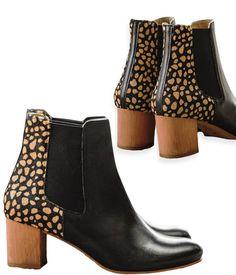 7dd64b61962f Bottines type Chelsea Boots à talons - Cuir Noir imprimé animal - PIED DE  BICHE