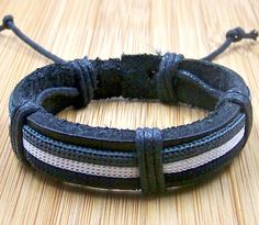 personalized  dark leather bracelets wristband with cyan and white  for men women with  adjustable length. $3.50, via Etsy.
