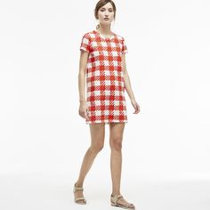 Lacoste Women's Gingham Printed T-Shirt Dress ($165) ❤ liked on Polyvore featuring dresses, white summer dresses, summer dresses, pattern dress, tshirt dress and tee shirt dress