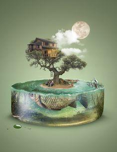 Fishing by Fábio Araujo, via Behance #digitalart #photoshop #photomanipulation #inspiration #surreal