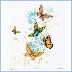 Italin Print Butterflies & Blue Flowers 10 by AtticBasement, $15.00