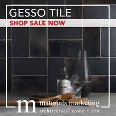 """Gesso Tile! This double-fired ceramic, with manual glazing intervention, will add a contemporary Urban flair to your design. Our wide selection of 4"""" X 8"""" Gesso tiles, available in 18 different color options, are on Sale Now for a limited time. Visit www.Materials-Marketing.com to pick yours out today! Wall Design, House Design, Stone Tiles, Subway Tile, Home Decor Styles, Wall Tiles, Different Colors, Kitchen Remodel, Vodka"""